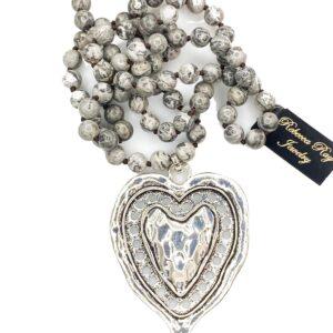 03078 Semi Precious Heart Necklace