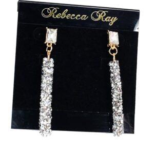 03151 Silver Crystal Linear Earrings