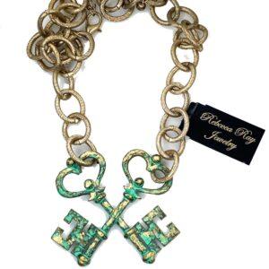 RR19101 Patina Key Necklace